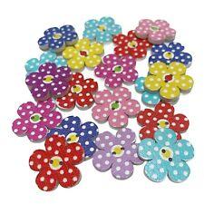 40 20mm WOODEN POLKA DOT FLOWER BUTTONS - MIXED COLOURS - CRAFT - SEWING - CARDS