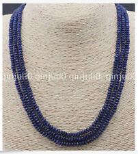 """Natural 3 rangées 2X4mm à Facettes Bleu Foncé Saphir Perles Collier 18"""" JN2092"""