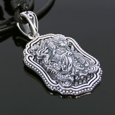 Men Women Adjustable Necklace 925 Sterling Silver Guanyin Pendant Protection 128