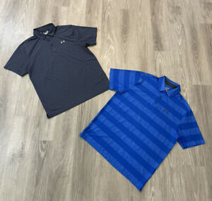 Lot Of 2 Under Armour Heat Gear Men's Polo Shirts Loose Size Large