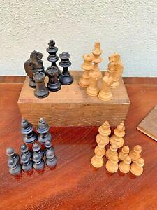 Vintage & Antique Wooden Chess Pieces Complete