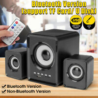 bluetooth Subwoofer USB Wired Computer Speakers LED Bass Stereo Player Laptop