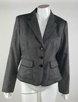 City DKNY Women Sz 10 Charcoal Gray Collared Lined Button Down Career Blazer NWT