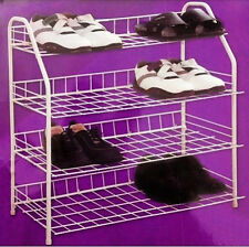 4 Tier White Wire 60cm Shoe Boot Rack Storage Organiser Easy to Clean Assemble