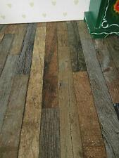 """Braune Shabby-Chic-Vintage""""-Holz-fußboden-TAPETE,Puppenstube,30cmx53"""