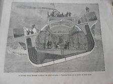 Gravure 1875 - Nouvaux bateau Bessemer supprimant les effats du Roulis
