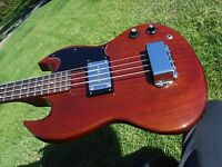 1973 Gibson EB-0 2 EB0 Vintage Bass Guitar Cherry Red with Case & Original Strap