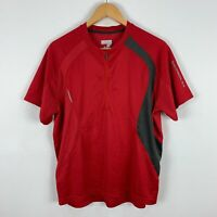 Salomon Mens Cycling Shirt Extra Large XL Slim Red Short Sleeve Zip Closure