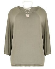 New Simply Be Emily Oversize Batwing Khaki Green Plus Size Top