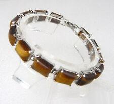 Genuine Tigereye Tigers Eye White Gold Plated Link Clasp Bangle Bracelet