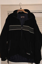 Abercrombie and Fitch Coat Men's Navy Blue Fleece wtih Stripe REVERSABLE Size XL
