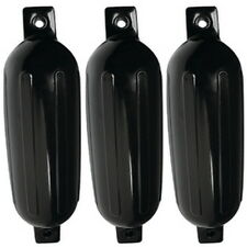 3 Pack 6-1/2 Inch x 23 Inch Double Eye Black Inflatable Vinyl Fenders for Boats