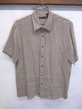 EUC! Kenneth Cole New York Casual Shirt light gray 100% linen short sleeve sz XL