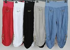 NEW ITALIAN LAGENLOOK 3/4 LENGTH CROPPED 2 POCKET BUTTON DESIGN LINEN TROUSERS