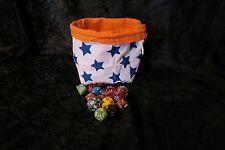 Navy Orange Stars - Square Dice Bag - Reversible - Cotton - Tile Pouch - RPG D&D