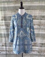 J McLAUGHLIN Knit Top Sz XS EXTRA SMALL Catalina Cloth Blue Paisley Print