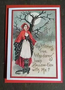 Witch, cat, tree & moon Halloween card, vintage style, pagan, All Hallows Eve