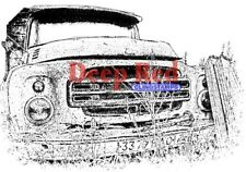 Deep Red Stamps Rusty Truck Rubber Cling Stamp