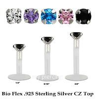 "16G 1/4""- 3/8"" Bio Flex Push-In .925 Silver Prong Set 3mm Round CZ Labret Tragus"