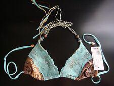New BEACH BUNNY Wild Honey Lady Lace Snakeskin Bikini Top XS