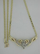 Natural Diamond Cluster Necklace Solid 14kt Yellow Gold