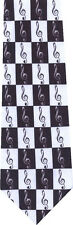 BLACK AND WHITE MUSICAL NOTES NEW MUSIC NOVELTY TIE
