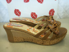 Two Lips New Womens Plum Natural Wedge Sandals Size 10 M Shoes