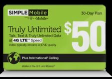 Simple Mobile $50 Refill - Truly Unlimited Refill Directly Added To Your Phone!