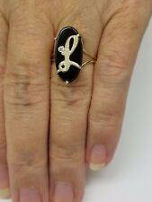 "NEW WOMEN'S 10K SOLID YELLOW GOLD INITIAL BLACK ONYX & DIAMOND LETTER ""L"" RING"