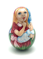Russia Roly Poly Alice in Wonderland Hand Carved Hand Painted no Nesting DOLL