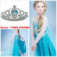 Robe Déguisement Costume La Reine des Neiges Frozen Elsa Anna Enfant +couronne