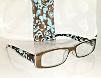 +1.25 Eco-friendly ICU Wink Pastel Green & Brown Reading Glasses Sprg Hg w/case