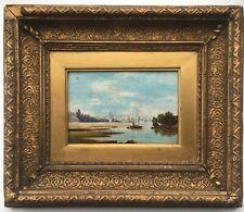 Original Antique Oil Painting on Copper Plate Panel River Fishing Landscape