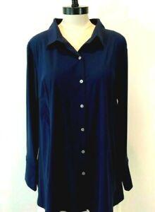 NWT~MARLA WYNNE Women's 1X~2X Plus Navy-Blue Long-Sleeve Button-Shirt Blouse Top