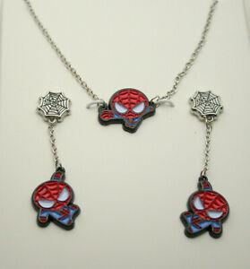 Marvel Comics Kawaii Spider-Man Enamel Necklace Pendant & Earring Set New Box