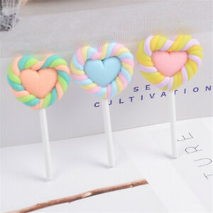 6 pcs DIY Jewelry Making Polymer Clay Heart Lollipops Craft Slime Charms 37x20mm