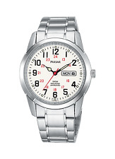 Mens Pulsar Quartz Stainless Steel Railroad White Dial Day and Date Watch PJ6007