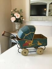 Vtg Wyandotte Tin Metal Baby Doll Buggy Carriage Stroller Dog Cat Duck Graphics