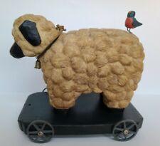 Vtg Rare Blue Sky Clayworks Sheep & Bird On Wheels,Antique Style Decor,'99 C.C.