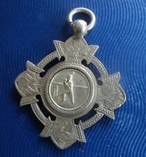 Early LARGE Silver Medal / Watch Fob - Cricket / Batsman h/m 1889 - J. Dowell