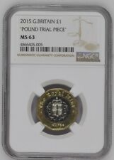 More details for 2015 great britain royal mint pound trial piece £1 ngc ms63 rare high grade