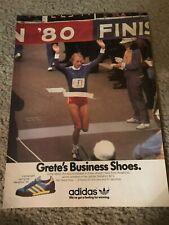 Vintage 1980 ADIDAS MARATHON '80 Running Shoes Poster Print Ad GRETE WAITZ NYC