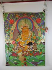 altes Buddha Thangka Gott Jambhala & Ratte Seide Tibet ~1960  90cm