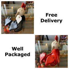 More details for ceramic hand formed curly chicken by otus designs - 2 assorted