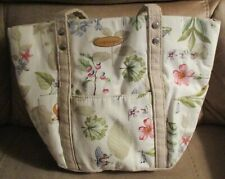 Vintage Longaberger Homestead Beige Leaf Flower Butterfly Print Canvas Purse Bag