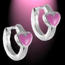 Klappcreolen Creolen Herz Pink  Kinder Mädchen Ohrringe 925 Silber