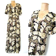 Vintage 90s Does 40s Floral Dress Size Medium Great Gatsby Bias Cut Flapper Gown