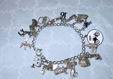 WOW! RARE! Estate 40s70s ster 19 CHARM BRACELET Mech PUPPET puffy ♡ BLOODY TOWER