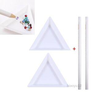 Rhinestone Gem Crystal White Triangle Tray & Picker Pencil Kit For Nail Art Tool