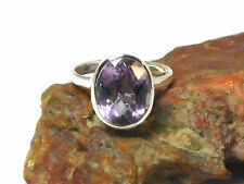 Oval  AMETHYST   Sterling  Silver  925  Gemstone  RING  -  Size:P